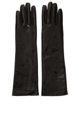 Vinyl Long Leather Gloves - predominant colour: black; occasions: casual, evening, work, creative work; type of pattern: standard; style: standard; length: elbow; material: leather; pattern: plain; trends: gorgeous grunge; season: a/w 2013