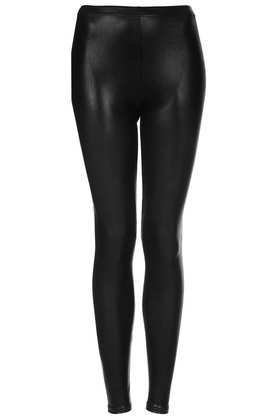 Petite High Shine Wetlook Leggings - length: standard; pattern: plain; style: leggings; waist: mid/regular rise; predominant colour: black; occasions: casual, evening, creative work; fibres: polyester/polyamide - stretch; texture group: lycra/elastane mixes; fit: skinny/tight leg; pattern type: fabric; season: a/w 2013