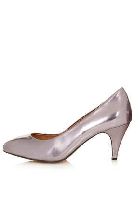 Maple Metallic Mid Heel Court Shoes - predominant colour: silver; occasions: evening, occasion; material: faux leather; heel height: mid; heel: cone; toe: round toe; style: courts; finish: metallic; pattern: plain; season: a/w 2013