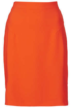 Fluro Crepe Pencil Skirt - pattern: plain; style: pencil; fit: tailored/fitted; waist: high rise; predominant colour: bright orange; occasions: casual, evening, work, creative work; length: just above the knee; fibres: polyester/polyamide - stretch; texture group: crepes; pattern type: fabric; season: a/w 2013