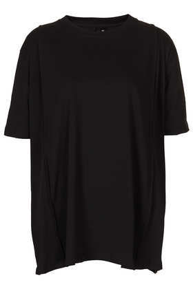 Pleat Seam Tee Boutique - neckline: round neck; pattern: plain; length: below the bottom; style: t-shirt; predominant colour: black; occasions: casual, work, creative work; fibres: polyester/polyamide - mix; fit: loose; sleeve length: short sleeve; sleeve style: standard; texture group: jersey - stretchy/drapey; trends: oversized structure; season: a/w 2013