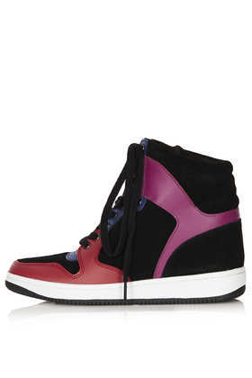 Atlantic Wedge Trainers - secondary colour: magenta; predominant colour: black; occasions: casual, creative work; material: leather; heel height: flat; toe: round toe; style: trainers; finish: plain; pattern: colourblock; trends: broody brights; season: a/w 2013