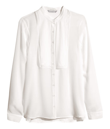 Silk Blouse - pattern: plain; style: blouse; predominant colour: white; occasions: casual, evening, work, creative work; length: standard; neckline: collarstand; fibres: silk - 100%; fit: loose; sleeve length: long sleeve; sleeve style: standard; texture group: silky - light; season: a/w 2013