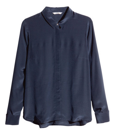 Silk Blouse - neckline: shirt collar/peter pan/zip with opening; pattern: plain; style: blouse; predominant colour: navy; occasions: casual, evening, work, creative work; length: standard; fibres: silk - 100%; fit: loose; sleeve length: long sleeve; sleeve style: standard; texture group: silky - light; trends: broody brights; season: a/w 2013