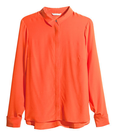 Silk Blouse - neckline: shirt collar/peter pan/zip with opening; pattern: plain; style: blouse; predominant colour: bright orange; occasions: casual, evening, work, creative work; length: standard; fibres: silk - 100%; fit: loose; sleeve length: long sleeve; sleeve style: standard; texture group: silky - light; season: a/w 2013