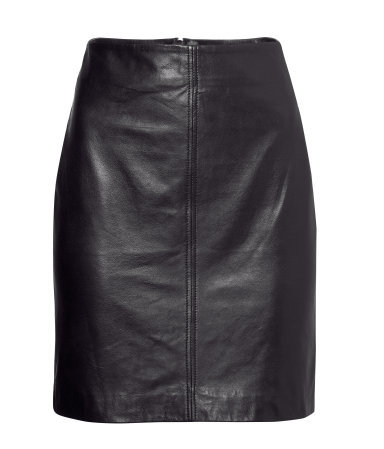 Leather Skirt - length: mid thigh; pattern: plain; style: pencil; fit: tailored/fitted; waist: high rise; predominant colour: black; occasions: casual, evening, work, creative work; fibres: leather - 100%; texture group: leather; pattern type: fabric; trends: 1940's hitchcock heroines; season: a/w 2013