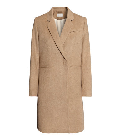 Coat - pattern: plain; style: single breasted; length: on the knee; collar: standard lapel/rever collar; predominant colour: camel; occasions: casual, evening, work, creative work; fit: straight cut (boxy); fibres: wool - mix; sleeve length: long sleeve; sleeve style: standard; collar break: medium; texture group: woven bulky/heavy; season: a/w 2013