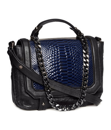 Leather Bag - secondary colour: royal blue; predominant colour: black; occasions: casual, creative work; type of pattern: standard; style: satchel; length: across body/long; size: small; material: leather; pattern: animal print; finish: plain; embellishment: chain/metal; season: a/w 2013