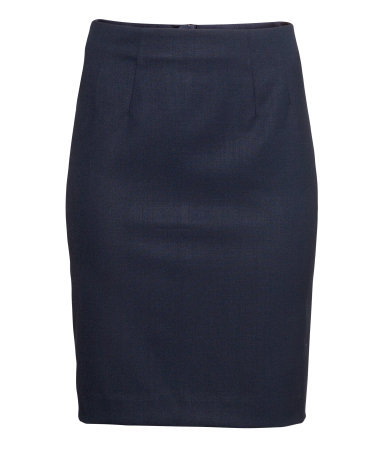 Pencil Skirt - pattern: plain; style: pencil; fit: tailored/fitted; waist: high rise; predominant colour: navy; occasions: casual, evening, work, creative work; length: just above the knee; fibres: polyester/polyamide - stretch; pattern type: fabric; texture group: woven light midweight; trends: 1940's hitchcock heroines, broody brights; season: a/w 2013