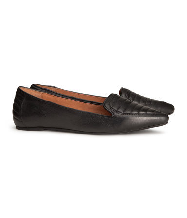 Leather Loafers - predominant colour: black; occasions: casual, evening, work, creative work; material: leather; heel height: flat; toe: pointed toe; style: loafers; finish: plain; pattern: plain; season: a/w 2013