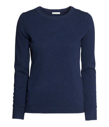 Cashmere Jumper - pattern: plain; style: standard; predominant colour: navy; occasions: casual, evening, work, creative work; length: standard; fit: standard fit; neckline: crew; fibres: cashmere - 100%; sleeve length: long sleeve; sleeve style: standard; texture group: knits/crochet; trends: broody brights; season: a/w 2013