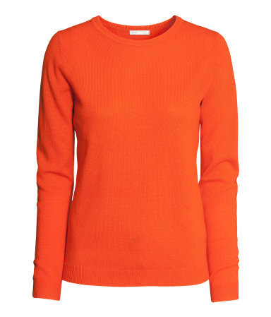 Cashmere Jumper - pattern: plain; style: standard; predominant colour: bright orange; occasions: casual, evening, work, creative work; length: standard; fit: standard fit; neckline: crew; fibres: cashmere - 100%; sleeve length: long sleeve; sleeve style: standard; texture group: knits/crochet; trends: broody brights; season: a/w 2013