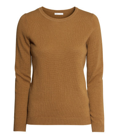 Cashmere Jumper - pattern: plain; style: standard; predominant colour: tan; occasions: casual, evening, work, creative work; length: standard; fit: standard fit; neckline: crew; fibres: cashmere - 100%; sleeve length: long sleeve; sleeve style: standard; texture group: knits/crochet; season: a/w 2013