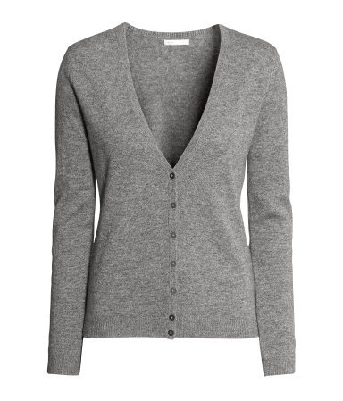 Cashmere Cardigan - neckline: low v-neck; pattern: plain; predominant colour: mid grey; occasions: casual, work, creative work; length: standard; style: standard; fit: standard fit; fibres: cashmere - 100%; sleeve length: long sleeve; sleeve style: standard; texture group: knits/crochet; season: a/w 2013