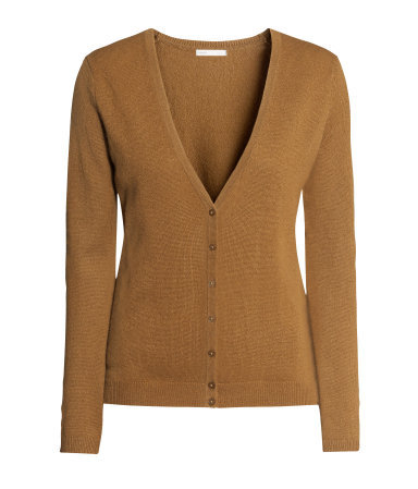 Cashmere Cardigan - neckline: low v-neck; pattern: plain; predominant colour: tan; occasions: casual, work, creative work; length: standard; style: standard; fit: slim fit; fibres: cashmere - 100%; sleeve length: long sleeve; sleeve style: standard; texture group: knits/crochet; season: a/w 2013