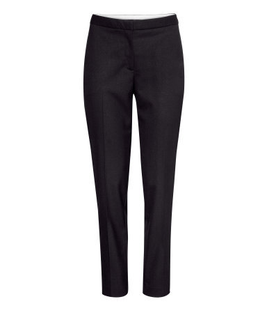 Suit Trousers - pattern: plain; style: capri; pocket detail: small back pockets, pockets at the sides; waist: mid/regular rise; predominant colour: black; occasions: casual, evening, work, creative work; length: ankle length; fibres: polyester/polyamide - mix; waist detail: feature waist detail; fit: tapered; pattern type: fabric; texture group: woven light midweight; season: a/w 2013