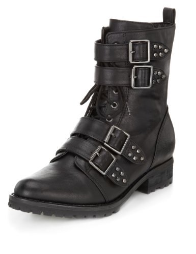 Limited Edition Multiple Buckle Lace Up Boots - predominant colour: black; occasions: casual; material: faux leather; heel height: flat; embellishment: buckles; heel: standard; toe: pointed toe; boot length: ankle boot; style: biker boot; finish: plain; pattern: plain; season: a/w 2013