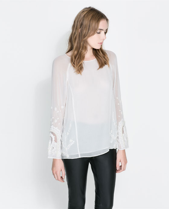 Embroidered Blouse - neckline: round neck; pattern: plain; style: blouse; predominant colour: ivory/cream; occasions: casual, evening, work, holiday, creative work; length: standard; fibres: viscose/rayon - 100%; fit: loose; sleeve length: long sleeve; sleeve style: standard; texture group: sheer fabrics/chiffon/organza etc.; embellishment: embroidered; season: a/w 2013