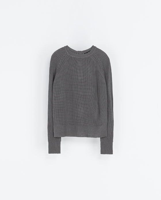 Knit Sweater - neckline: round neck; sleeve style: raglan; pattern: plain; style: standard; predominant colour: mid grey; occasions: casual, creative work; length: standard; fibres: acrylic - 100%; fit: standard fit; sleeve length: long sleeve; texture group: knits/crochet; season: a/w 2013