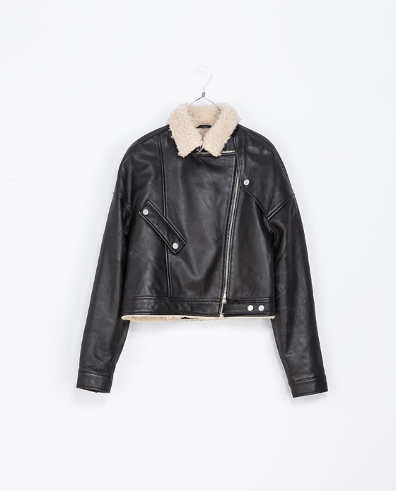 Leather Sheepskin Jacket - pattern: plain; style: biker; collar: asymmetric biker; predominant colour: black; occasions: casual, creative work; fit: straight cut (boxy); fibres: leather - 100%; sleeve length: long sleeve; sleeve style: standard; texture group: leather; collar break: high/illusion of break when open; season: a/w 2013; length: cropped