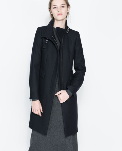 Coat With Buckle Collar And Zip - pattern: plain; collar: funnel; style: single breasted; length: mid thigh; predominant colour: black; occasions: casual, work, creative work; fit: tailored/fitted; fibres: wool - mix; sleeve length: long sleeve; sleeve style: standard; collar break: high/illusion of break when open; texture group: woven bulky/heavy; season: a/w 2013