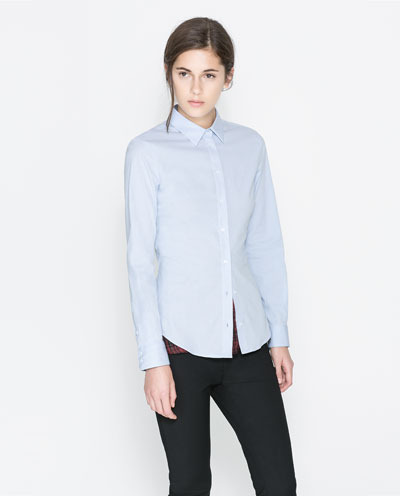 Basic Shirt - neckline: shirt collar/peter pan/zip with opening; pattern: plain; style: shirt; predominant colour: pale blue; occasions: casual, evening, work, creative work; length: standard; fibres: cotton - stretch; fit: tailored/fitted; sleeve length: long sleeve; sleeve style: standard; texture group: cotton feel fabrics; pattern type: fabric; season: a/w 2013