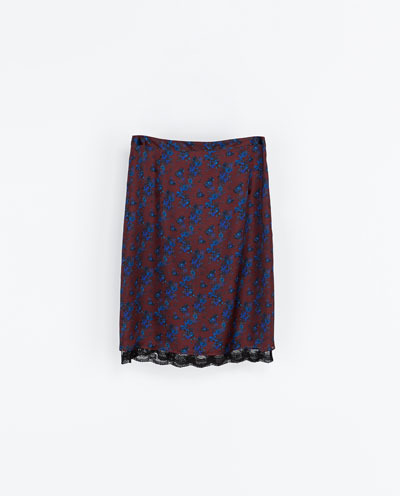 Printed Skirt With Lace Trim - length: below the knee; style: straight; waist: mid/regular rise; predominant colour: burgundy; secondary colour: navy; occasions: casual, evening, creative work; fibres: polyester/polyamide - 100%; texture group: cotton feel fabrics; fit: straight cut; pattern type: fabric; pattern: patterned/print; embellishment: lace; season: a/w 2013; pattern size: big & busy (bottom); wardrobe: highlight; embellishment location: all over
