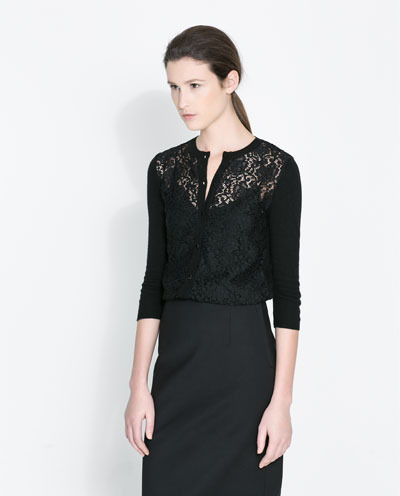 Angora Cardigan With Lace - neckline: round neck; predominant colour: black; occasions: casual, evening, work, creative work; length: standard; style: standard; fit: standard fit; sleeve length: 3/4 length; sleeve style: standard; texture group: lace; pattern type: fabric; pattern: patterned/print; fibres: viscose/rayon - mix; season: a/w 2013; wardrobe: highlight