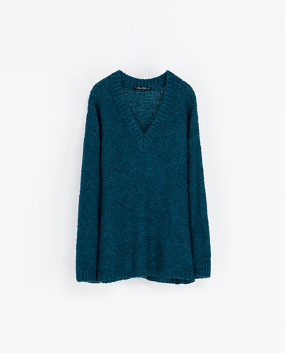 Oversized Wool Sweater - neckline: low v-neck; pattern: plain; length: below the bottom; style: standard; predominant colour: navy; occasions: casual; fibres: acrylic - mix; fit: loose; sleeve length: long sleeve; sleeve style: standard; texture group: knits/crochet; pattern type: fabric; trends: oversized structure, broody brights; season: a/w 2013