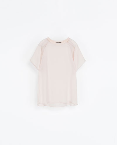 Combination T Shirt - pattern: plain; style: t-shirt; predominant colour: blush; occasions: casual, creative work; length: standard; fibres: polyester/polyamide - 100%; fit: loose; neckline: crew; sleeve length: short sleeve; sleeve style: standard; texture group: silky - light; pattern type: fabric; season: a/w 2013