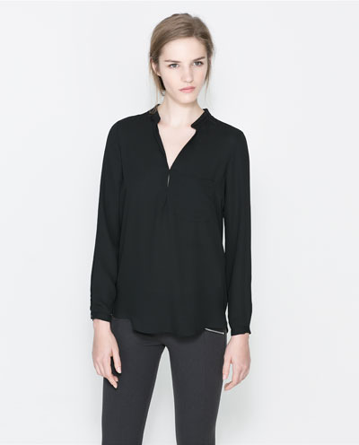 Blouse - pattern: plain; predominant colour: black; occasions: casual, evening, work, creative work; length: standard; style: top; neckline: collarstand & mandarin with v-neck; fibres: polyester/polyamide - 100%; fit: loose; sleeve length: long sleeve; sleeve style: standard; texture group: sheer fabrics/chiffon/organza etc.; pattern type: fabric; season: a/w 2013