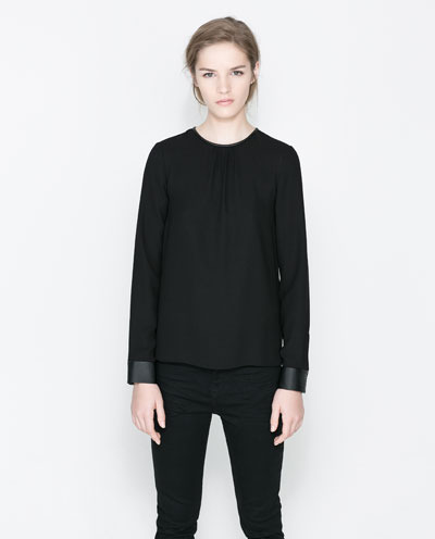 Top With Faux Leather Cuffs - pattern: plain; predominant colour: black; occasions: casual, evening, creative work; length: standard; style: top; fibres: polyester/polyamide - mix; fit: loose; neckline: crew; sleeve length: long sleeve; sleeve style: standard; texture group: silky - light; pattern type: fabric; season: a/w 2013