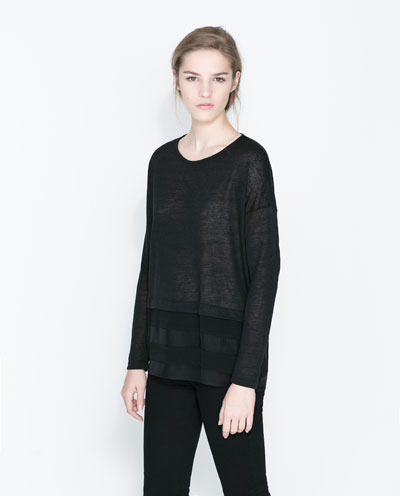 T Shirt With Transparent Stripes - neckline: round neck; pattern: plain; predominant colour: black; occasions: casual, creative work; length: standard; style: top; fit: loose; sleeve length: long sleeve; sleeve style: standard; texture group: knits/crochet; pattern type: knitted - fine stitch; fibres: viscose/rayon - mix; season: a/w 2013