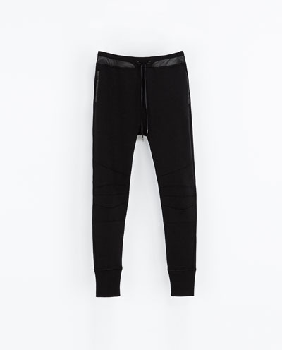 Cotton Biker Trousers - length: standard; pattern: plain; pocket detail: pockets at the sides; waist detail: belted waist/tie at waist/drawstring; waist: mid/regular rise; predominant colour: black; occasions: casual, evening, creative work; fibres: cotton - 100%; texture group: cotton feel fabrics; fit: skinny/tight leg; style: standard; season: a/w 2013