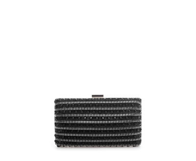 Sparkly MinaudiÉre With Zips - predominant colour: black; occasions: evening, occasion; style: clutch; length: hand carry; size: small; material: fabric; embellishment: crystals/glass; finish: metallic; pattern: horizontal stripes; season: a/w 2013