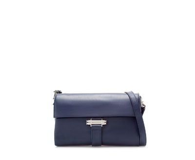 Leather Messenger Bag - predominant colour: navy; occasions: casual, work, creative work; style: messenger; length: shoulder (tucks under arm); size: standard; material: leather; pattern: plain; finish: plain; season: a/w 2013