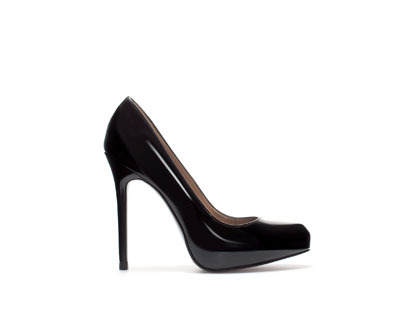 Synthetic Patent Leather Platform Court Shoe - predominant colour: black; occasions: evening, work, occasion; material: plastic/rubber; heel: stiletto; toe: pointed toe; style: courts; finish: patent; pattern: plain; heel height: very high; season: a/w 2013