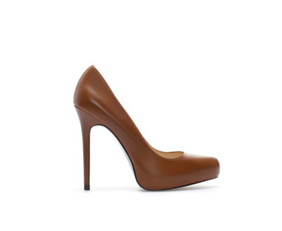Platform Leather Court Shoe - predominant colour: tan; occasions: evening, work, occasion, creative work; material: leather; heel: stiletto; toe: round toe; style: courts; finish: plain; pattern: plain; heel height: very high; season: a/w 2013