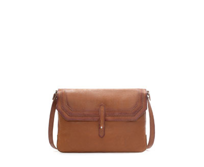 Leather Messenger Bag - predominant colour: tan; occasions: casual, work, creative work; style: messenger; length: shoulder (tucks under arm); size: standard; material: leather; pattern: plain; finish: plain; season: a/w 2013