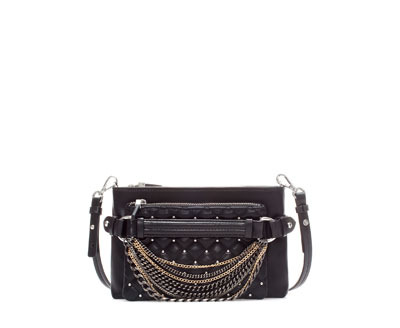 Quilted Rock Messenger Bag With Chains - predominant colour: black; occasions: casual, creative work; type of pattern: standard; style: shoulder; length: shoulder (tucks under arm); size: standard; material: faux leather; pattern: plain; finish: plain; embellishment: chain/metal; season: a/w 2013