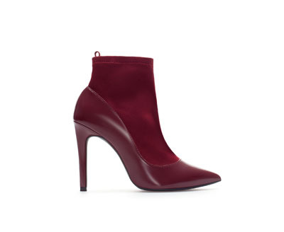High Heel Combination Ankle Boot - predominant colour: burgundy; secondary colour: burgundy; material: faux leather; heel height: high; heel: stiletto; toe: pointed toe; boot length: ankle boot; style: standard; finish: plain; pattern: plain; occasions: creative work; season: a/w 2013