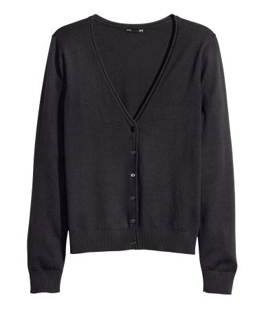 Fine Knit Cardigan - neckline: low v-neck; pattern: plain; predominant colour: black; occasions: casual, work, creative work; length: standard; style: standard; fibres: cotton - mix; fit: slim fit; sleeve length: long sleeve; sleeve style: standard; texture group: knits/crochet; pattern type: knitted - fine stitch; season: a/w 2013