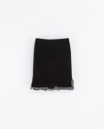 Lingerie Style Studio Skirt - pattern: plain; style: straight; waist: mid/regular rise; predominant colour: black; occasions: evening, work, creative work; length: on the knee; fibres: wool - 100%; texture group: cotton feel fabrics; fit: straight cut; pattern type: fabric; embellishment: lace; season: a/w 2013; wardrobe: highlight; embellishment location: hem