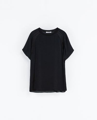 Combination T Shirt - pattern: plain; style: t-shirt; predominant colour: black; occasions: casual, creative work; length: standard; fibres: polyester/polyamide - 100%; fit: loose; neckline: crew; sleeve length: short sleeve; sleeve style: standard; texture group: silky - light; pattern type: fabric; season: a/w 2013