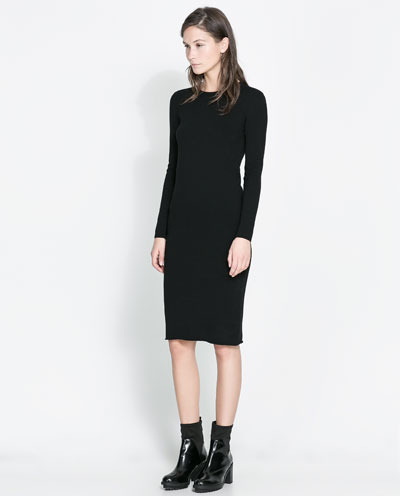 Long Sleeve Dress - pattern: plain; style: bodycon; predominant colour: black; occasions: casual, evening, creative work; length: on the knee; fit: body skimming; fibres: viscose/rayon - stretch; neckline: crew; sleeve length: long sleeve; sleeve style: standard; texture group: jersey - clingy; pattern type: fabric; season: a/w 2013