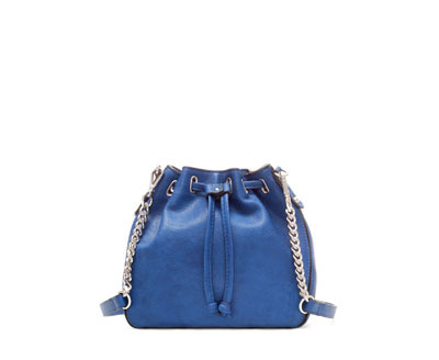 Mini Bucket Bag - predominant colour: royal blue; occasions: casual, creative work; type of pattern: standard; style: onion bag; length: shoulder (tucks under arm); size: standard; material: faux leather; pattern: plain; finish: plain; embellishment: chain/metal; season: a/w 2013