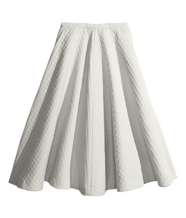 Pattern Weave Skirt - pattern: plain; style: full/prom skirt; fit: loose/voluminous; waist: mid/regular rise; predominant colour: white; occasions: casual, evening, work, creative work; length: on the knee; fibres: cotton - mix; hip detail: subtle/flattering hip detail; pattern type: fabric; texture group: other - light to midweight; trends: 1940's hitchcock heroines; season: a/w 2013