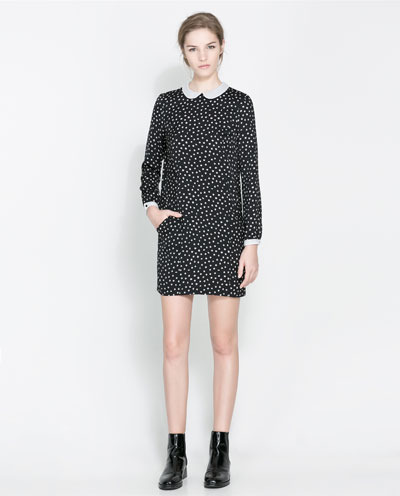 Polka Dot Dress With Peter Pan Collar - style: shift; length: mid thigh; pattern: polka dot; secondary colour: white; predominant colour: black; occasions: casual, evening, creative work; fit: straight cut; fibres: polyester/polyamide - 100%; neckline: no opening/shirt collar/peter pan; sleeve length: long sleeve; sleeve style: standard; pattern type: fabric; pattern size: standard; texture group: jersey - stretchy/drapey; season: a/w 2013; trends: monochrome