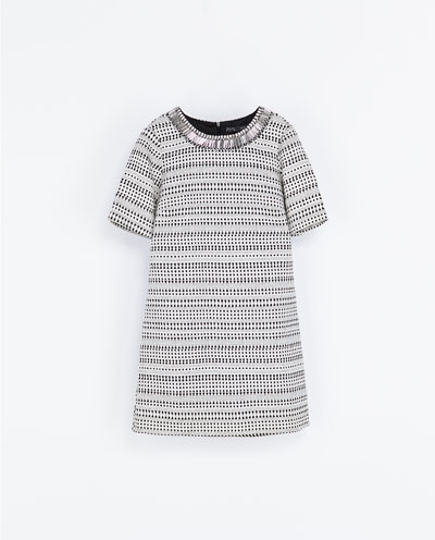 Jacquard Dress - style: shift; length: mid thigh; secondary colour: white; predominant colour: black; occasions: casual, evening, creative work; fit: soft a-line; fibres: cotton - mix; neckline: crew; sleeve length: short sleeve; sleeve style: standard; pattern type: fabric; pattern size: standard; pattern: patterned/print; texture group: brocade/jacquard; embellishment: beading; season: a/w 2013; trends: monochrome