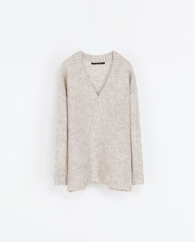 Oversized Wool Sweater - neckline: low v-neck; pattern: plain; length: below the bottom; style: standard; predominant colour: stone; occasions: casual, creative work; fibres: acrylic - mix; fit: loose; sleeve length: long sleeve; sleeve style: standard; texture group: knits/crochet; pattern type: fabric; trends: oversized structure; season: a/w 2013